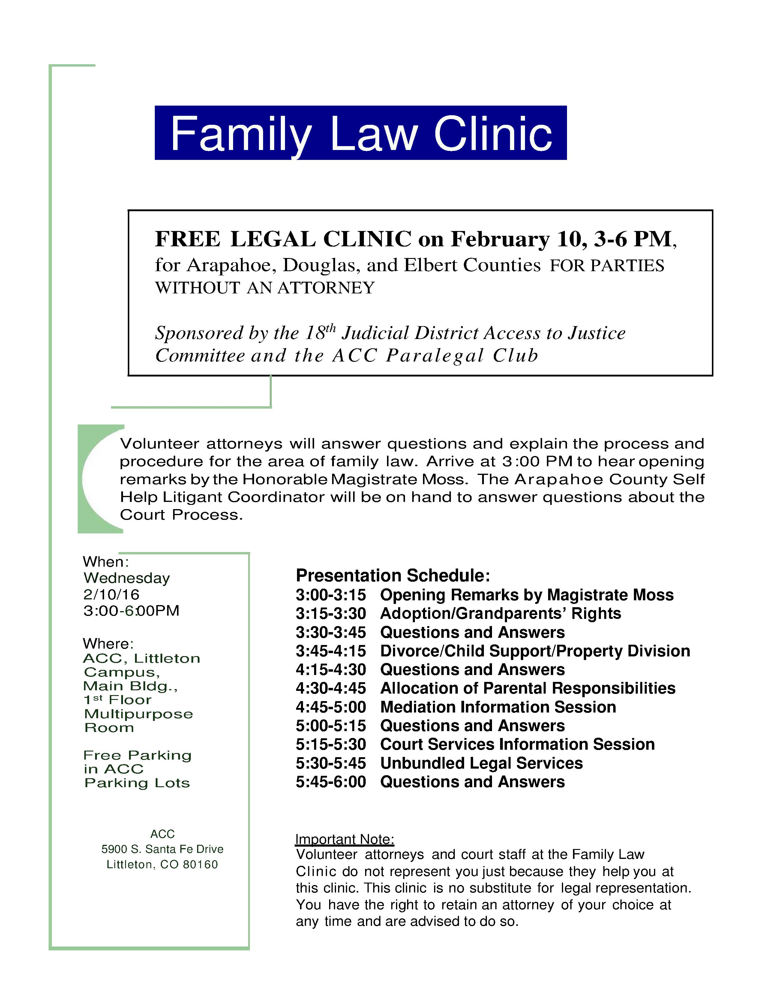 Free Family Law Clinic in Littleton on Feb. 10th